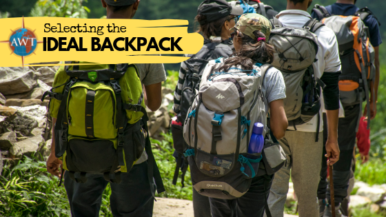 Group of people on a trip with different rucksacks on