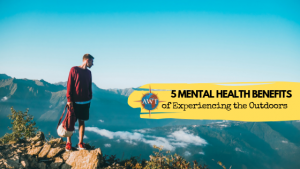 Image of man standing on a rock looking out with yellow banner coming from the middle right containing the AWT logo and blog title (5 Mental Health Benefits of Experiencing the Outdoors)