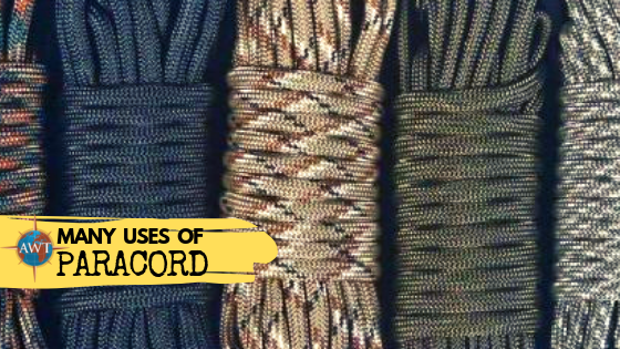 Image of 5 different colours of paracord with yellow banner coming from bottom left across containing the blog title (The Many Uses of Paracord) and AWT logo