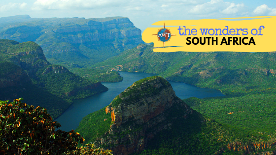 Image of South Africa mountains with yellow banner coming across from the top right with AWT logo and blog title (The Wonders of South Africa)
